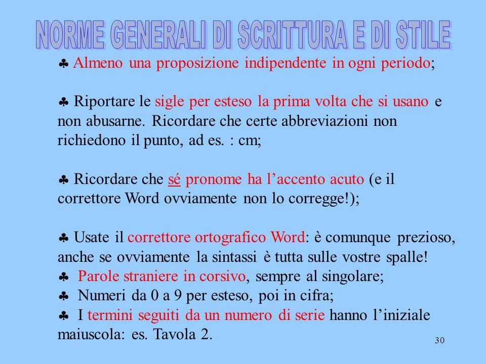 NORME GENERALI DI SCRITTURA E DI STILE