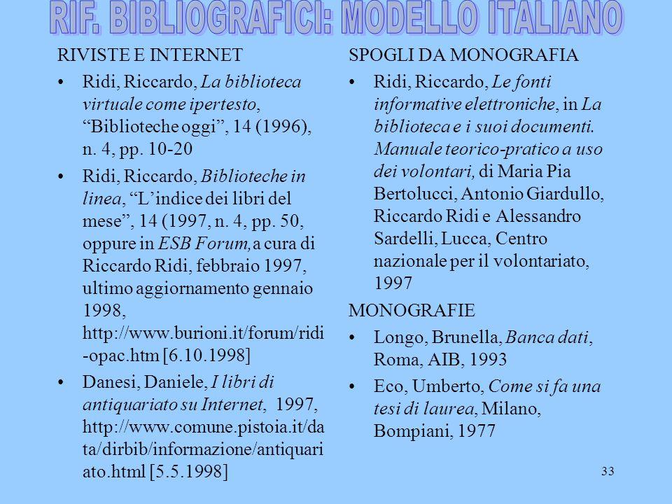 RIF. BIBLIOGRAFICI: MODELLO ITALIANO