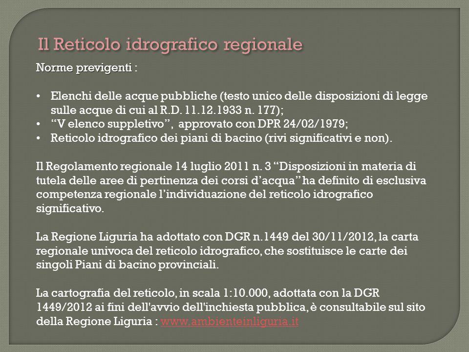 Il Reticolo idrografico regionale