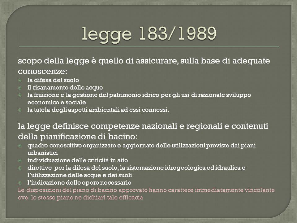 legge 183/1989 scopo della legge è quello di assicurare, sulla base di adeguate conoscenze: la difesa del suolo.