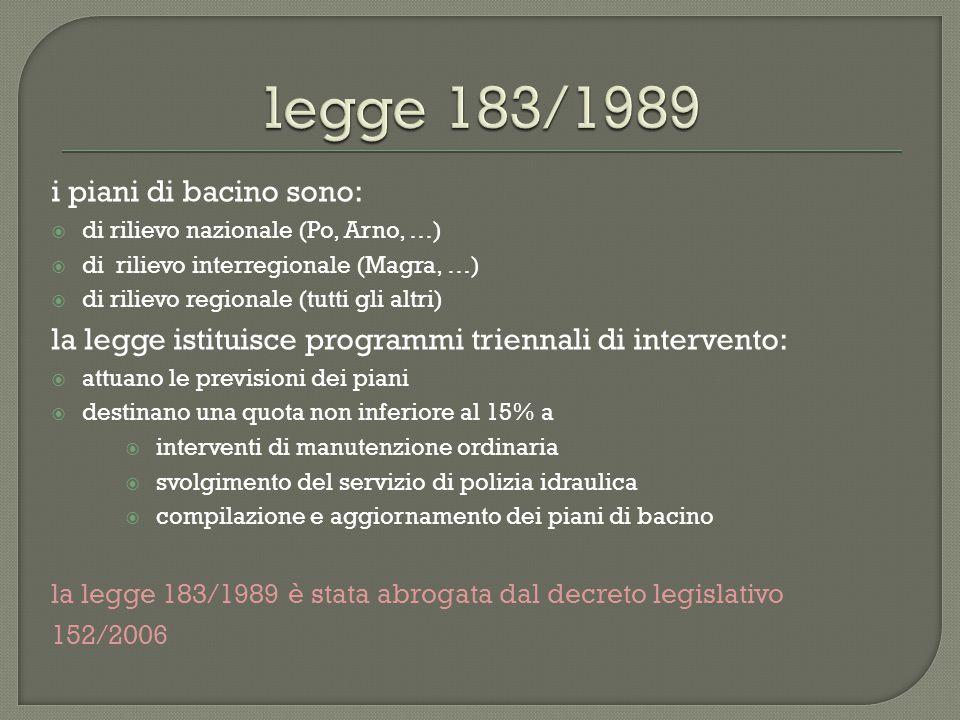 legge 183/1989 i piani di bacino sono: