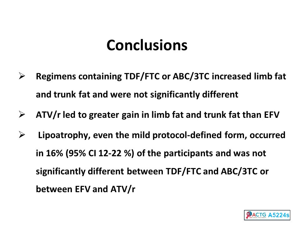 Conclusions Regimens containing TDF/FTC or ABC/3TC increased limb fat and trunk fat and were not significantly different.
