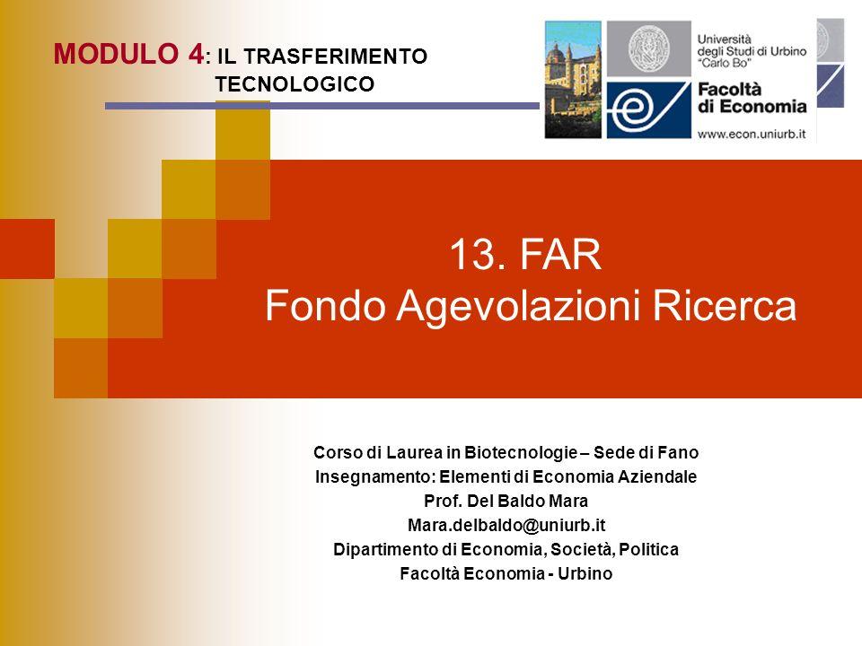 13. FAR Fondo Agevolazioni Ricerca