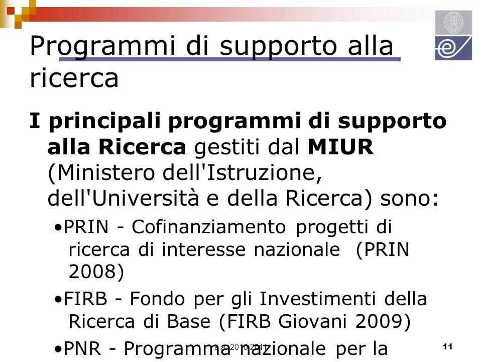 Programmi di supporto alla ricerca