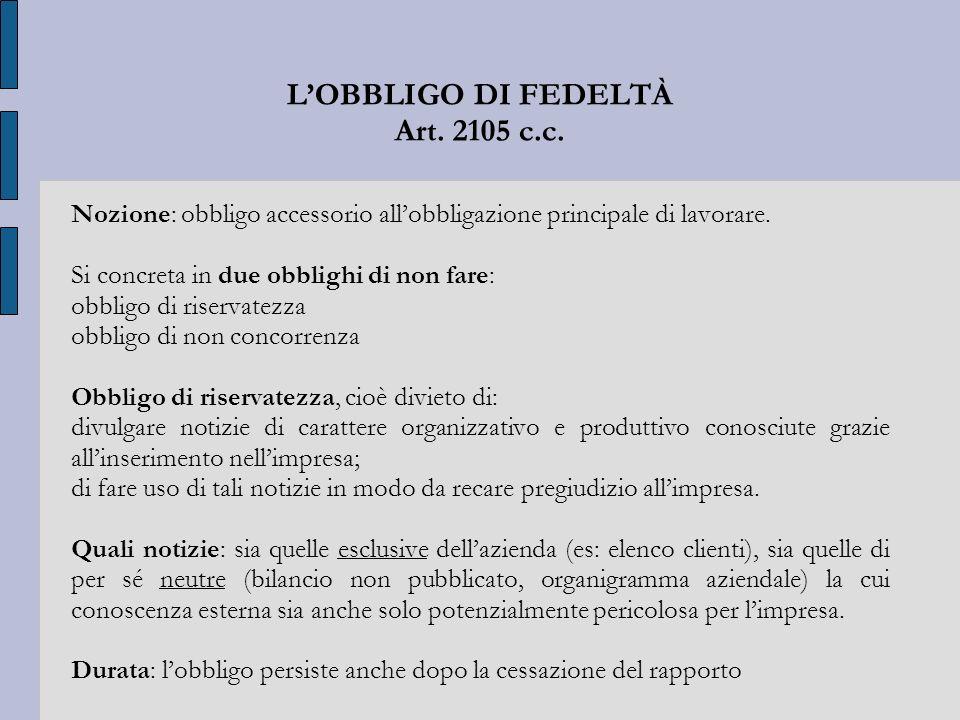 L'OBBLIGO DI FEDELTÀ Art. 2105 c.c.