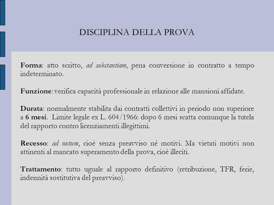 DISCIPLINA DELLA PROVA