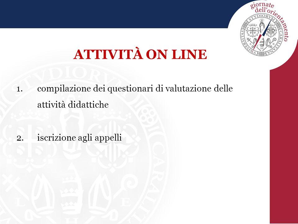 ATTIVITÀ ON LINE compilazione dei questionari di valutazione delle attività didattiche.