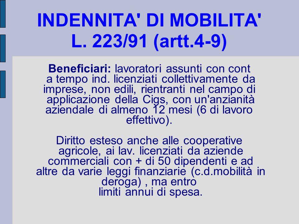 INDENNITA DI MOBILITA L. 223/91 (artt.4-9)
