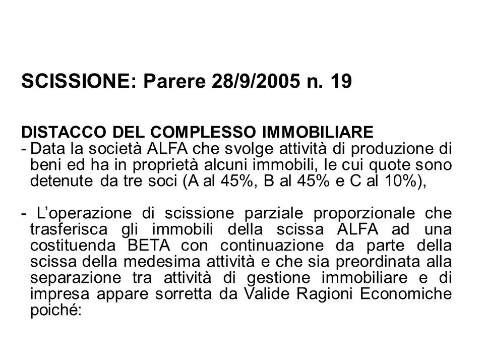 SCISSIONE: Parere 28/9/2005 n. 19 DISTACCO DEL COMPLESSO IMMOBILIARE