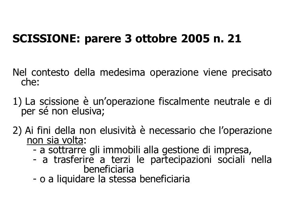 SCISSIONE: parere 3 ottobre 2005 n. 21
