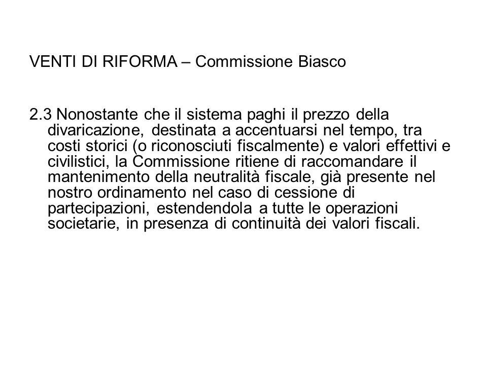 VENTI DI RIFORMA – Commissione Biasco