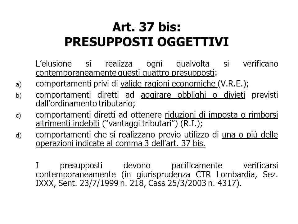 Art. 37 bis: PRESUPPOSTI OGGETTIVI