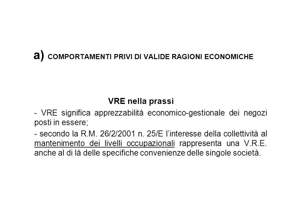 a) COMPORTAMENTI PRIVI DI VALIDE RAGIONI ECONOMICHE