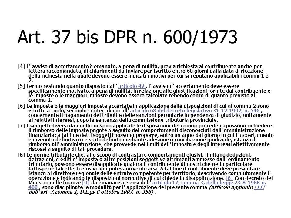 Art. 37 bis DPR n. 600/1973