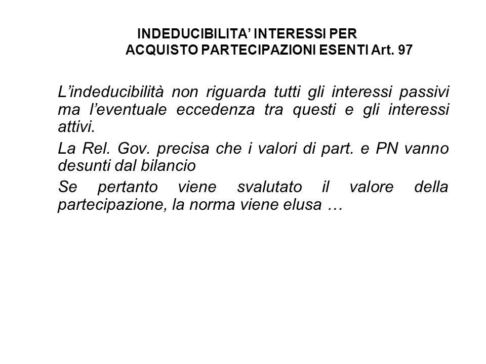 INDEDUCIBILITA' INTERESSI PER ACQUISTO PARTECIPAZIONI ESENTI Art. 97