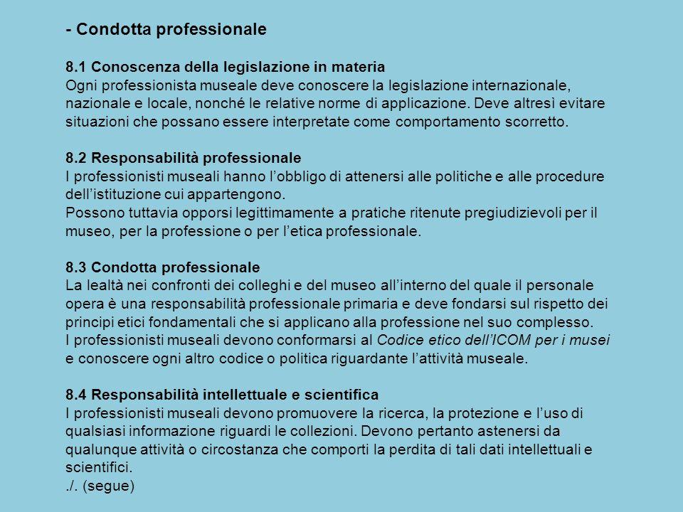 - Condotta professionale 8