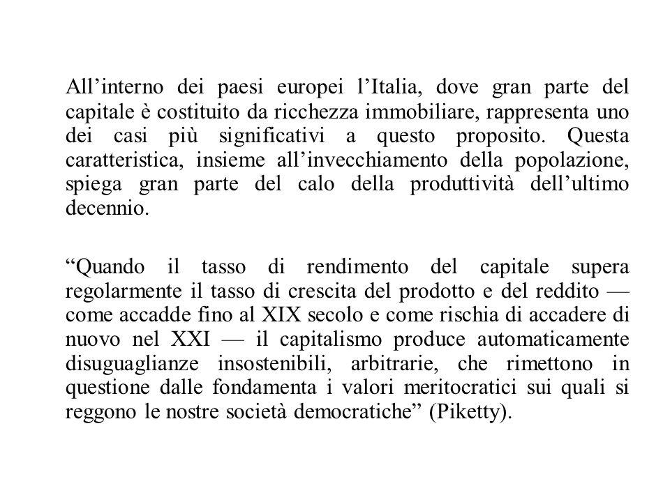 All'interno dei paesi europei l'Italia, dove gran parte del capitale è costituito da ricchezza immobiliare, rappresenta uno dei casi più significativi a questo proposito. Questa caratteristica, insieme all'invecchiamento della popolazione, spiega gran parte del calo della produttività dell'ultimo decennio.