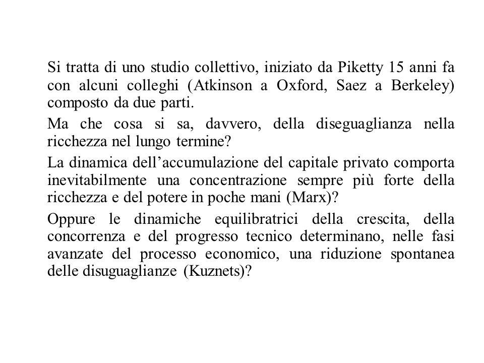 Si tratta di uno studio collettivo, iniziato da Piketty 15 anni fa con alcuni colleghi (Atkinson a Oxford, Saez a Berkeley) composto da due parti.