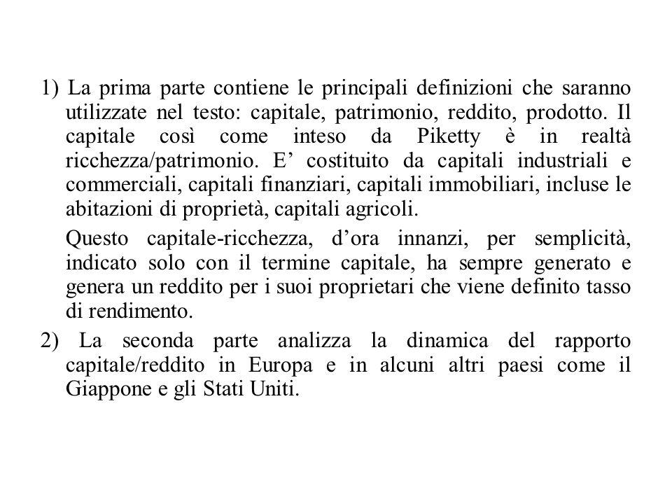 1) La prima parte contiene le principali definizioni che saranno utilizzate nel testo: capitale, patrimonio, reddito, prodotto. Il capitale così come inteso da Piketty è in realtà ricchezza/patrimonio. E' costituito da capitali industriali e commerciali, capitali finanziari, capitali immobiliari, incluse le abitazioni di proprietà, capitali agricoli.