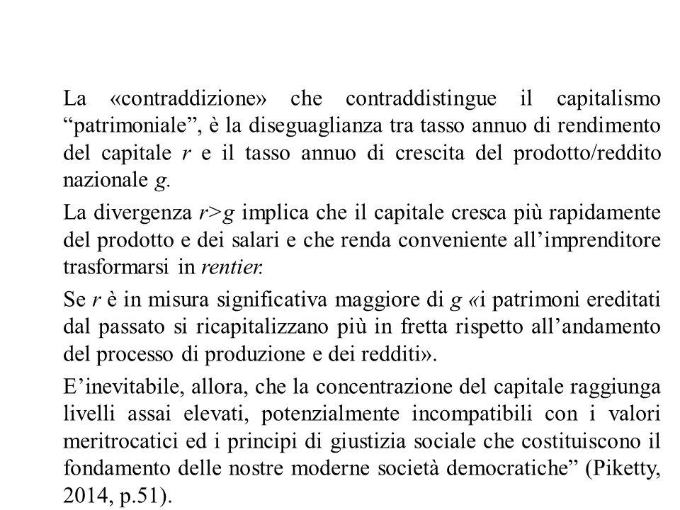 La «contraddizione» che contraddistingue il capitalismo patrimoniale , è la diseguaglianza tra tasso annuo di rendimento del capitale r e il tasso annuo di crescita del prodotto/reddito nazionale g.