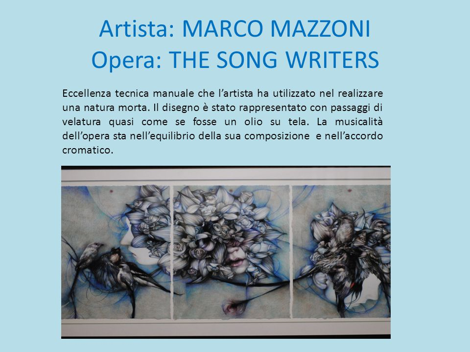 Artista: MARCO MAZZONI Opera: THE SONG WRITERS