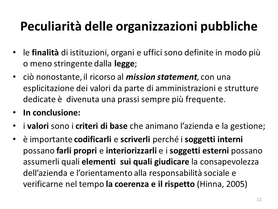 Peculiarità delle organizzazioni pubbliche