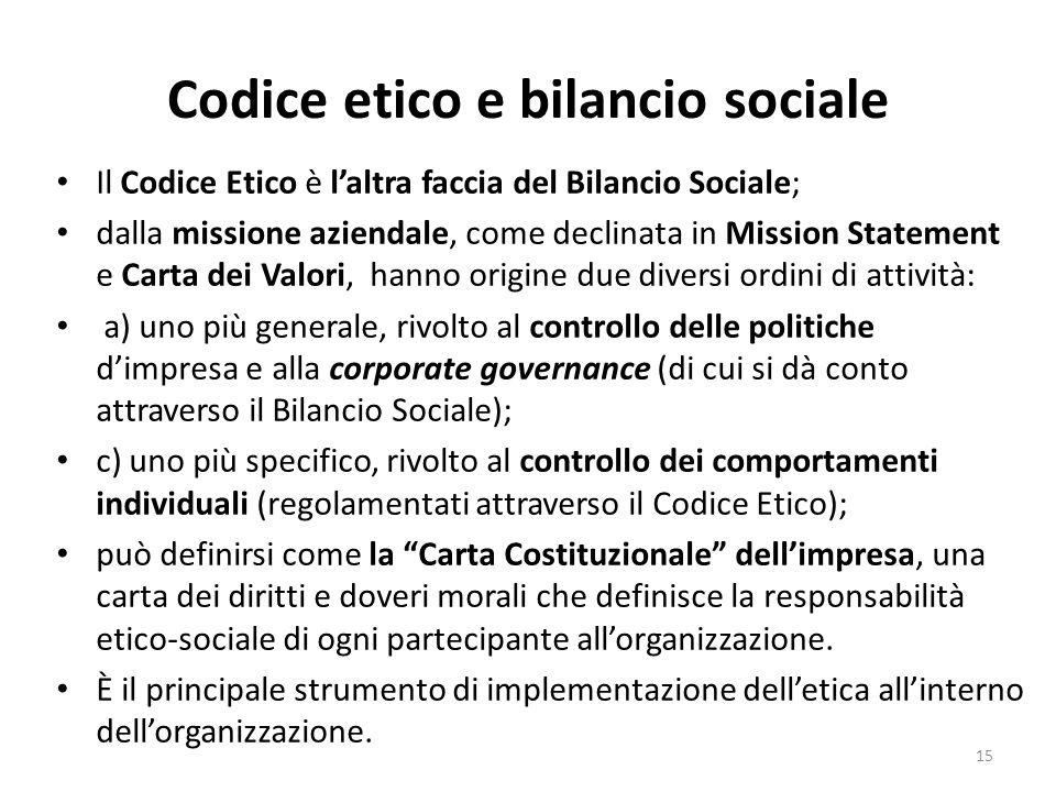 Codice etico e bilancio sociale
