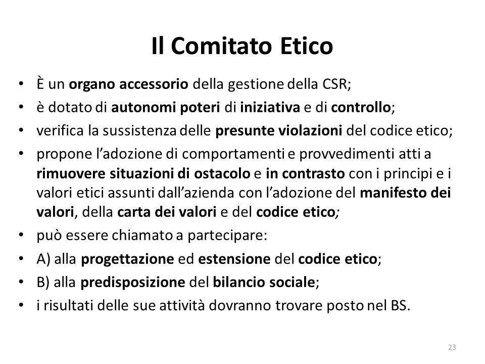 Il Comitato Etico È un organo accessorio della gestione della CSR;