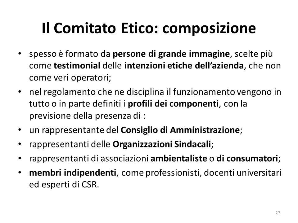Il Comitato Etico: composizione
