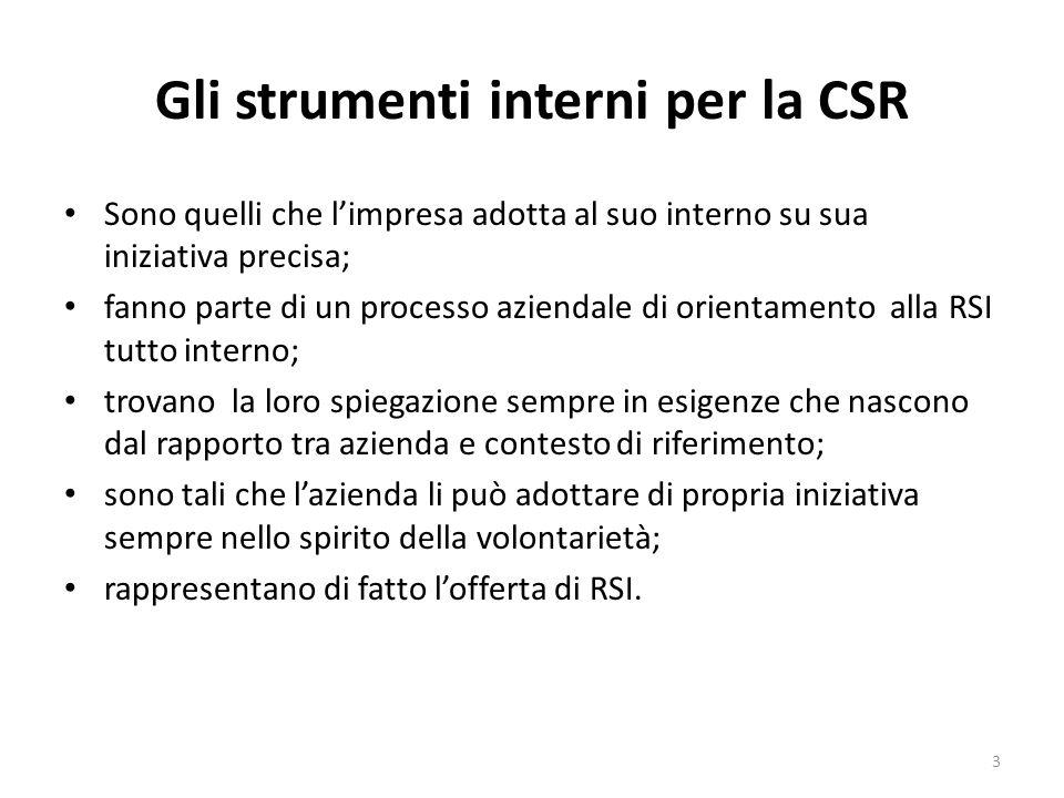 Gli strumenti interni per la CSR