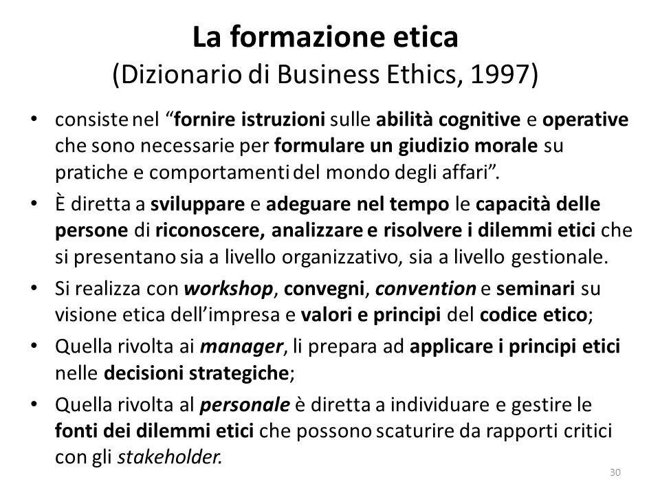 La formazione etica (Dizionario di Business Ethics, 1997)