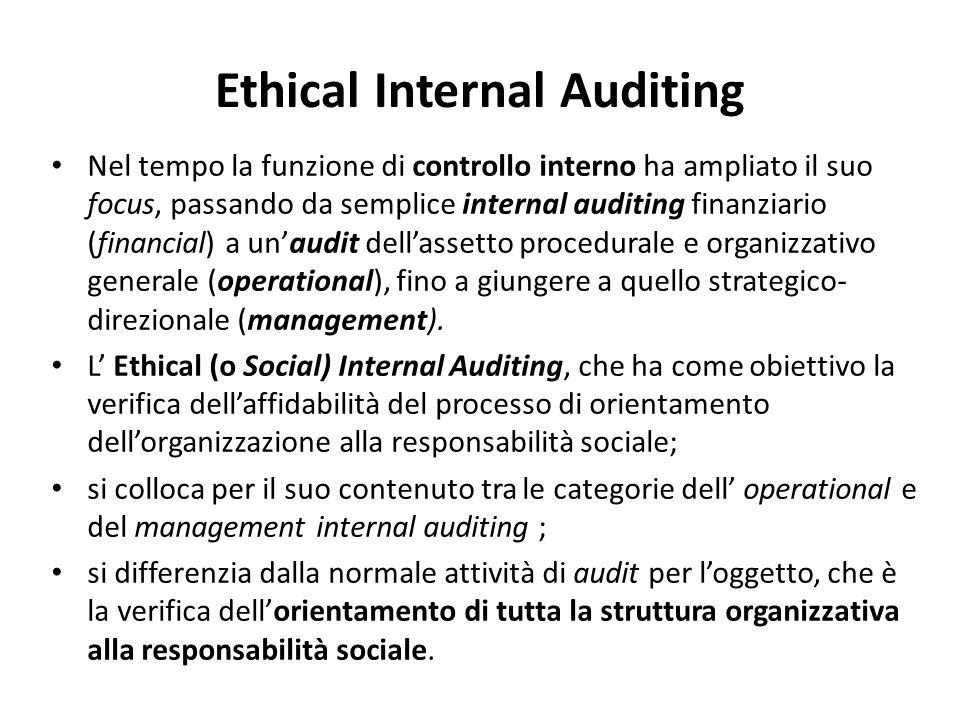 Ethical Internal Auditing