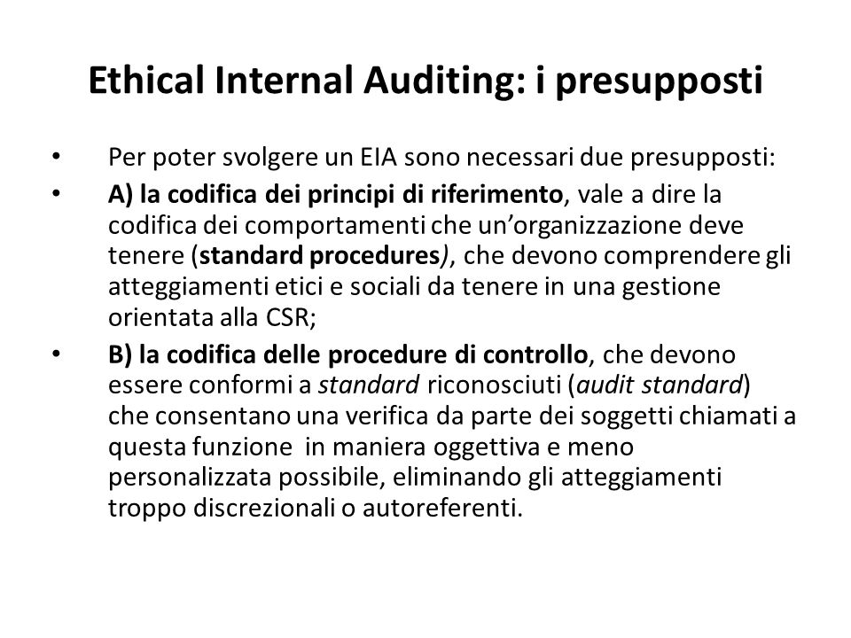 Ethical Internal Auditing: i presupposti