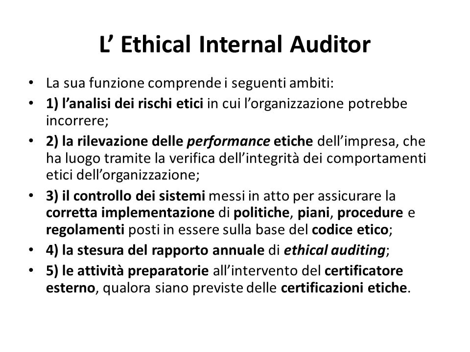 L' Ethical Internal Auditor