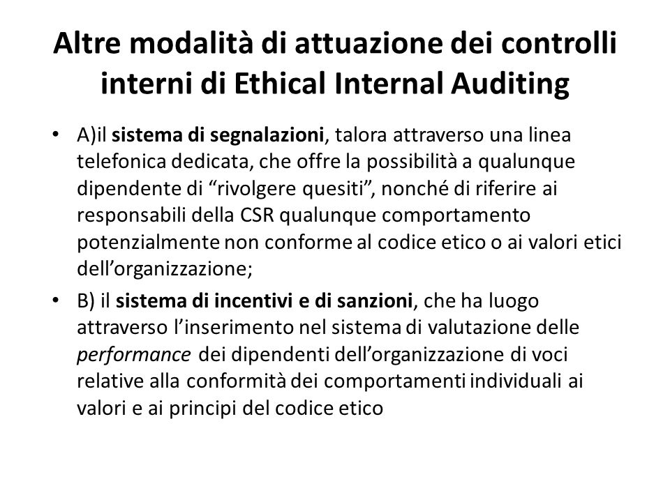 Altre modalità di attuazione dei controlli interni di Ethical Internal Auditing