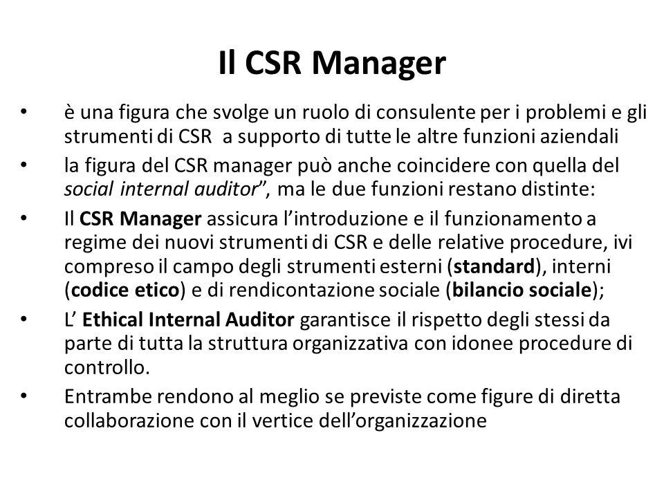 Il CSR Manager è una figura che svolge un ruolo di consulente per i problemi e gli strumenti di CSR a supporto di tutte le altre funzioni aziendali.