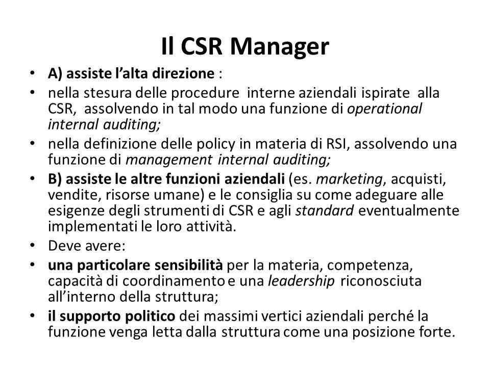 Il CSR Manager A) assiste l'alta direzione :