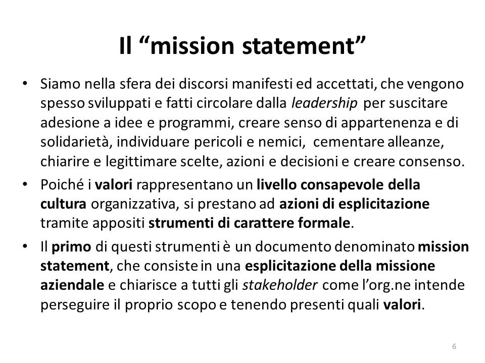 Il mission statement