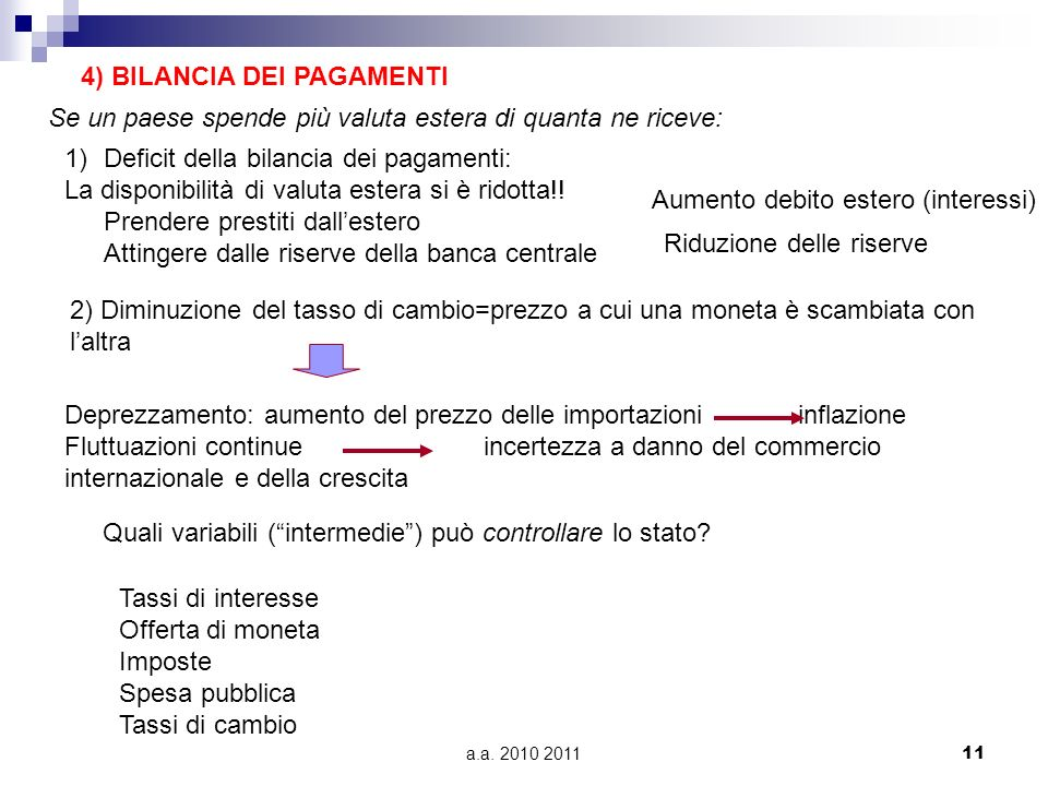 4) BILANCIA DEI PAGAMENTI