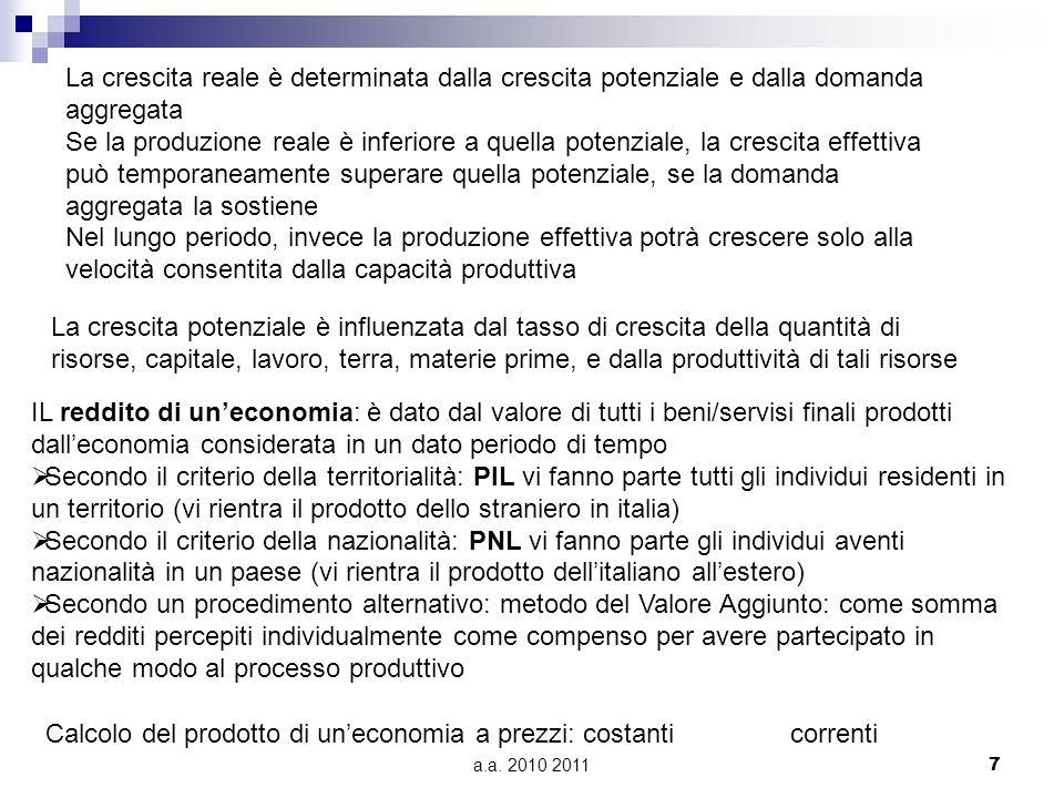 Calcolo del prodotto di un'economia a prezzi: costanti correnti