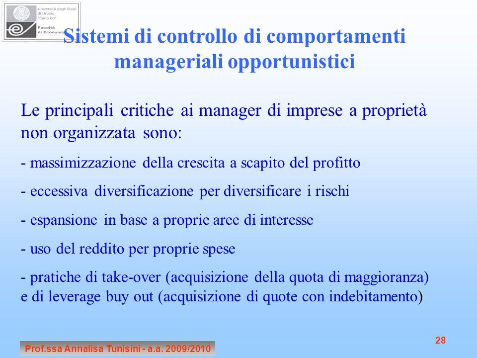 Sistemi di controllo di comportamenti manageriali opportunistici
