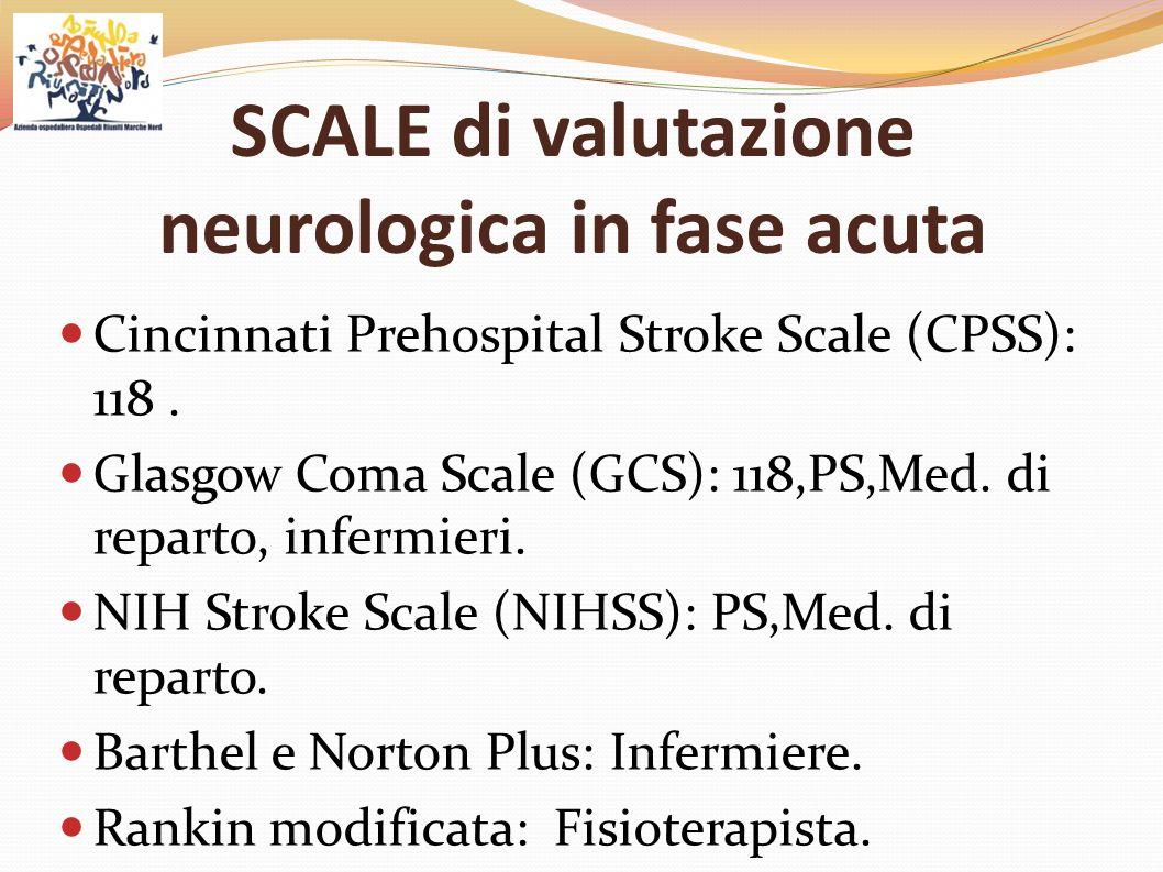 SCALE di valutazione neurologica in fase acuta