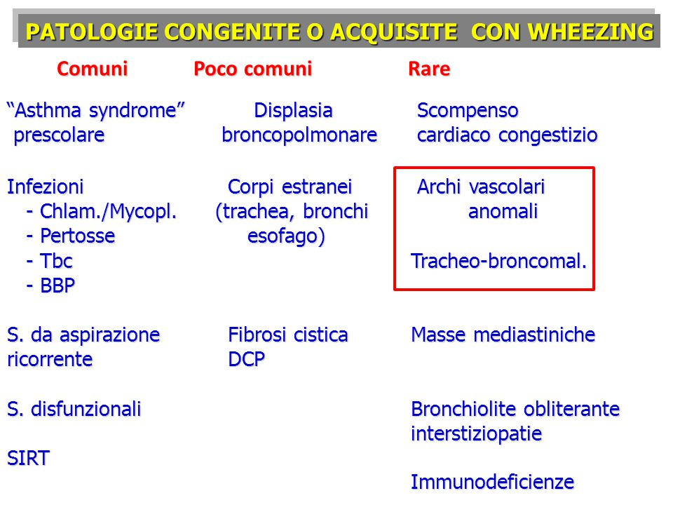 PATOLOGIE CONGENITE O ACQUISITE CON WHEEZING