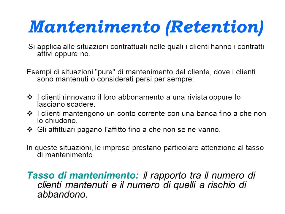 Mantenimento (Retention)