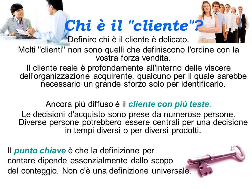 Chi è il cliente Definire chi è il cliente è delicato.