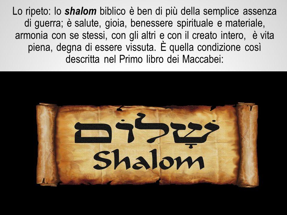 Lo ripeto: lo shalom biblico è ben di più della semplice assenza di guerra; è salute, gioia, benessere spirituale e materiale, armonia con se stessi, con gli altri e con il creato intero, è vita piena, degna di essere vissuta.