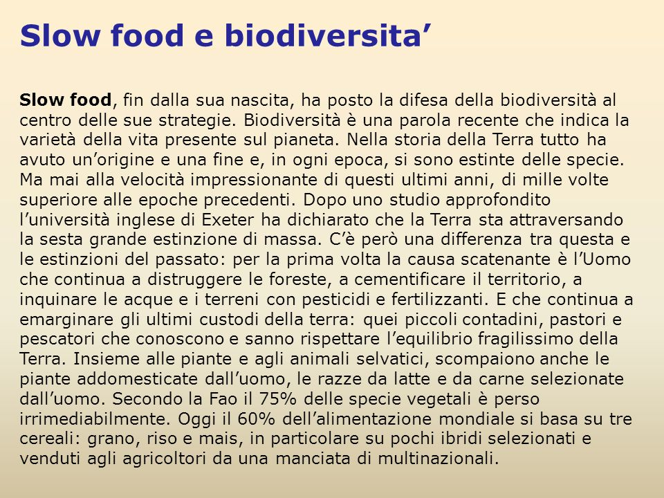 Slow food e biodiversita'