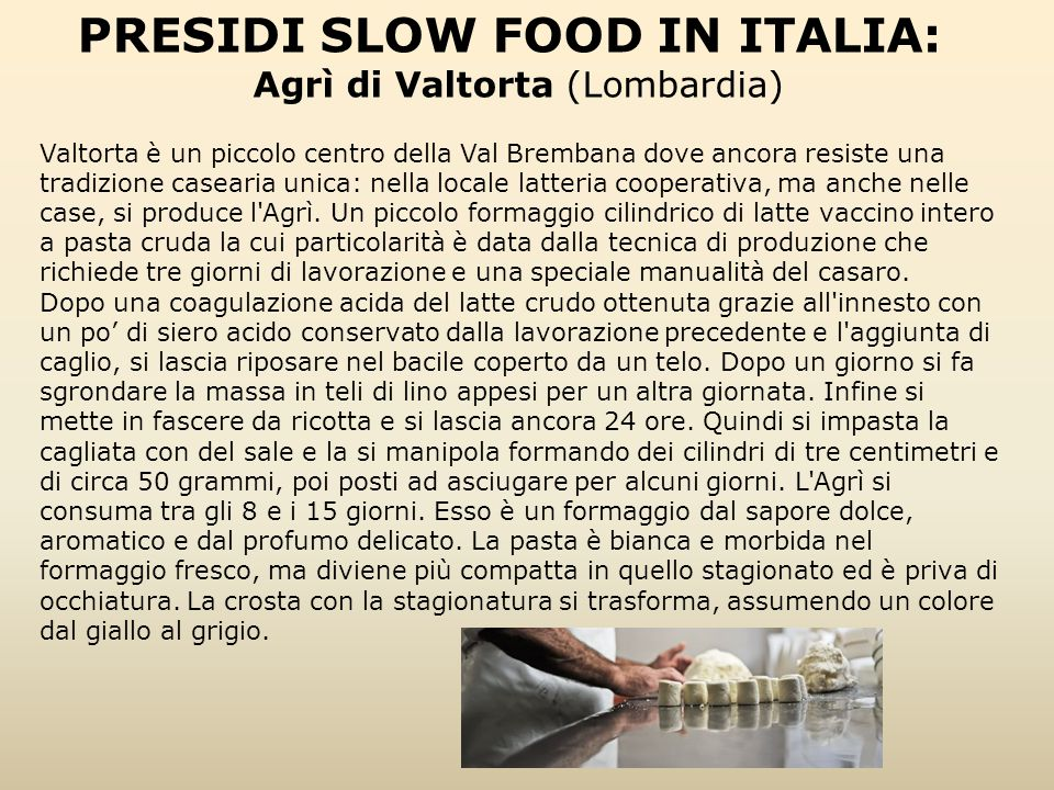 PRESIDI SLOW FOOD IN ITALIA: