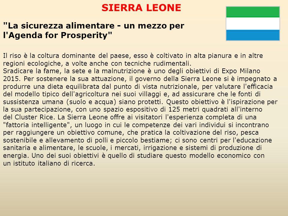 SIERRA LEONE La sicurezza alimentare - un mezzo per l Agenda for Prosperity