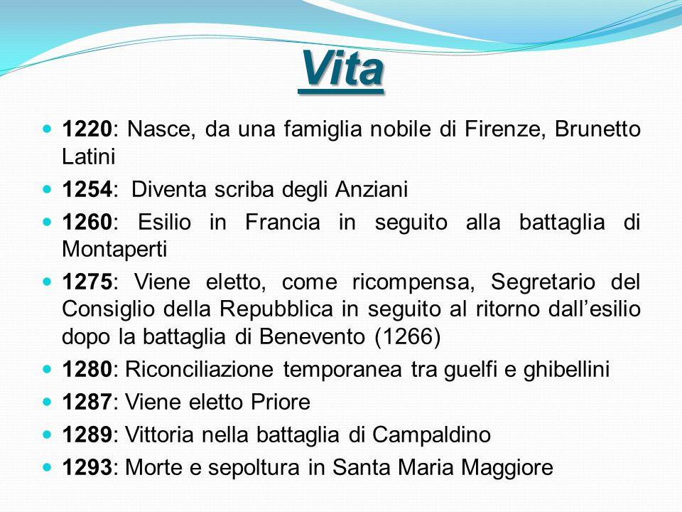Vita 1220: Nasce, da una famiglia nobile di Firenze, Brunetto Latini